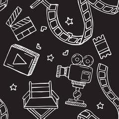 Cartoon vector doodles hand drawn cinema seamless pattern