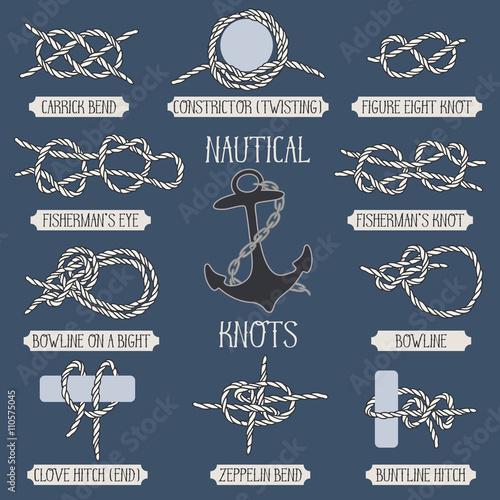 Set of nautical rope knots