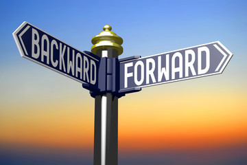 Crossroads sign - forward and backward