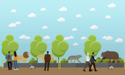 Zoo concept banner. People visiting zoopark with family and kids. Animals Vector illustration in flat style design.