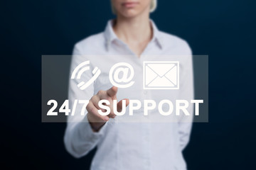 Business 24 hours button support icon