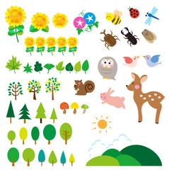 夏の森 動物たち 昆虫 セット