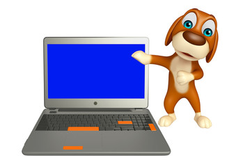 cute Dog cartoon character  with laptop