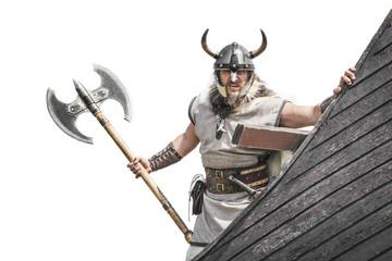 Strong Viking on his ship.