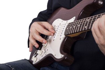 Man playing electric guitar isolated on white background