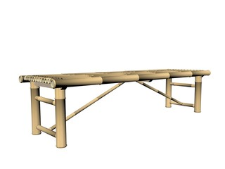 bamboo bench - 3d render