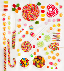 Fototapete - Multicolored candy. Top view. Flat lay.