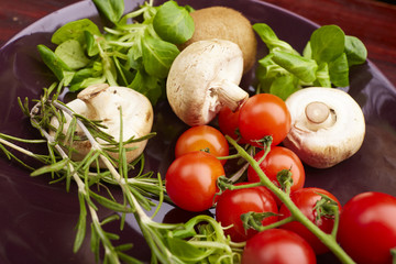 healthy eating fresh vegetables and fruits mushrooms