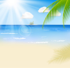 Summer beach with a sun, palm trees and cloudy sky. Template for your poster