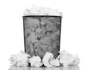 Black office bucket full of paper isolated on white