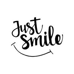 Just smile hand drawn lettering