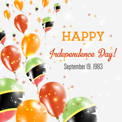 Saint Kitts And Nevis Independence Day Greeting Card. Flying Balloons in Saint Kitts And Nevis National Colors. Happy Independence Day Saint Kitts And Nevis Vector Illustration.