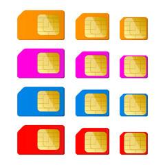 Mini, micro, nano sim card in red, blue, pink, orange color