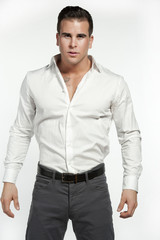 Athletic White Male in Fitted Shirt