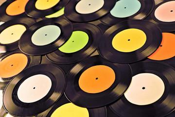 Spoed Foto op Canvas Muziekwinkel Vinyl records background