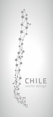 Chile grey vector outline map