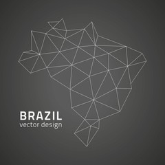 Brasil contour black vector map