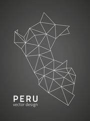 Peru black vector map