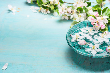 Aroma bowl with water and white blossom flowers on Turquoise blue  shabby chic wooden background....