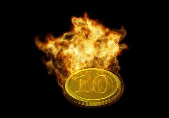 The symbolic image of gold coins in the fire. 3D rendering.
