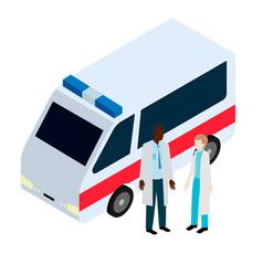 Doctor and nurse near ambulance