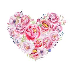 Watercolor vintage floral piony heart bouquet. Boho spring flowe