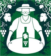 Winemaker with wine bottle