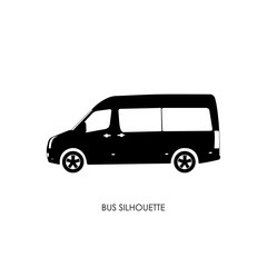 Bus black silhouette on a white background