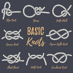 Set of nautical rope knots.