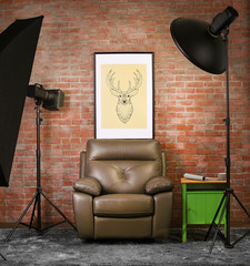 Photo studio interior on brick wall background