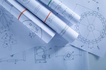 Set of engineering drawings, top view