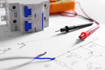Electrical drawings with tools closeup