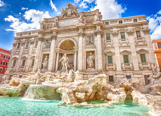 Spectacular Trevi Fountain, designed by Nicola Salvi Baroque era, in a sunny day, one of the most famous fountains in the world, capital of Rome, Lazio, Italy.