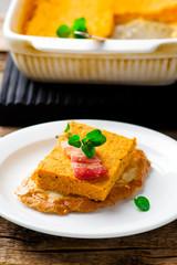 Pumpkin paste with bacon on rye bread