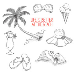 Set of icons and design elements for summer holidays and beach rest in hand drawn style