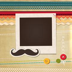 Collage photo frame on vintage background. Album template for kids, family or memories. Scrapbook concept, vector illustration.
