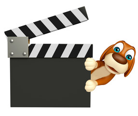 Dog cartoon character  with clapper board