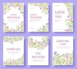 Set of flower invitation cards or banner brochure illustration design
