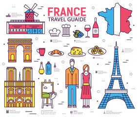 Country France trip guide of goods, places in thin lines style design. Set of architecture, fashion, people, nature background concept.