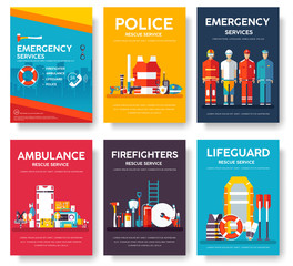 Firefighter, rafting, police, medicine rescue cards template set. Flat design icon of flyear, magazines, posters, book cover, banner. Emergency services layout concept pages with typography