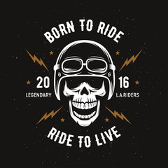 Vintage motorcycle t-shirt graphics. Born to ride. Ride to live. Vector illustration.