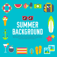 Summer icon flat illustration background design