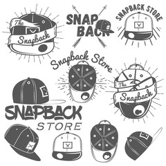Vector set of snapback store labels in vintage style. Flat cap hats concept illustration