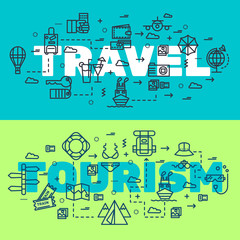 Travel infographic icons items design. Vacation rest with any elements set. Tour, trip, journey outline illustrations vector background. Tourist image on thin line style