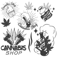 Vector set of medical marijuana labels in vintage style. Cannabis emblems, badges and logos for shop design. Weed leafs, bong