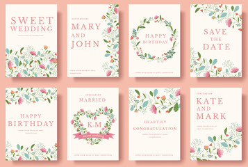 Set of flower invitation cards. colorful greeting wedding invitation card illustration set. Wedding vector design concept