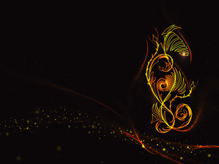 Black background in the colors of the flame with abstract floral ornament and gold lines and stars, vector illustration
