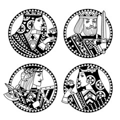 Faces of playing cards characters in black and white