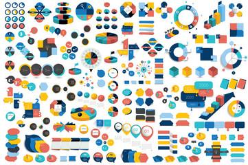 Mega set of infographic elements charts, graphs, circle charts, diagrams, speech bubbles. Flat and 3D design. Vector.