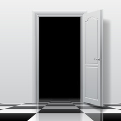 Entrance into a dark room with white open door